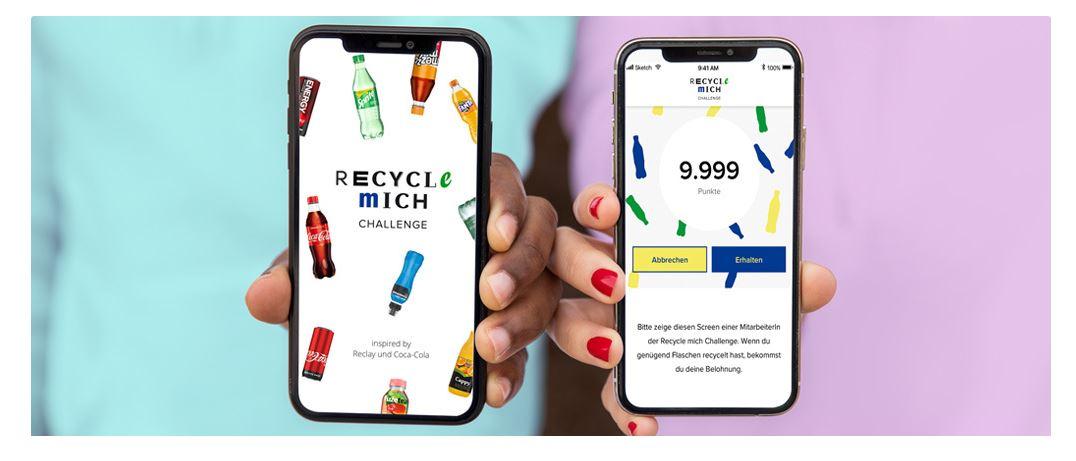 Mock ups von der Coca Cola Recycling-App